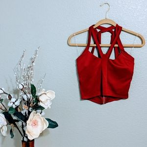 Charlotte Russe Red Strappy Crop Top Sz M